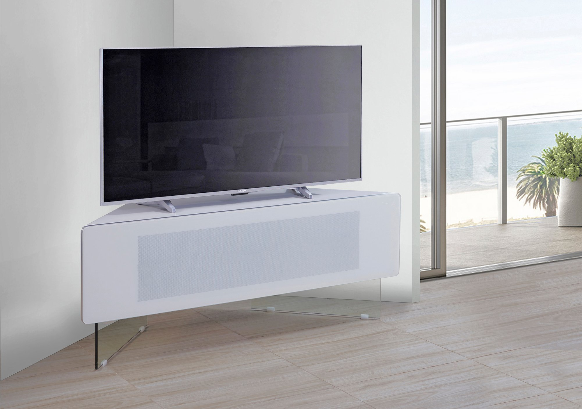 Mda Designs Antares White Corner Tv Cabinet