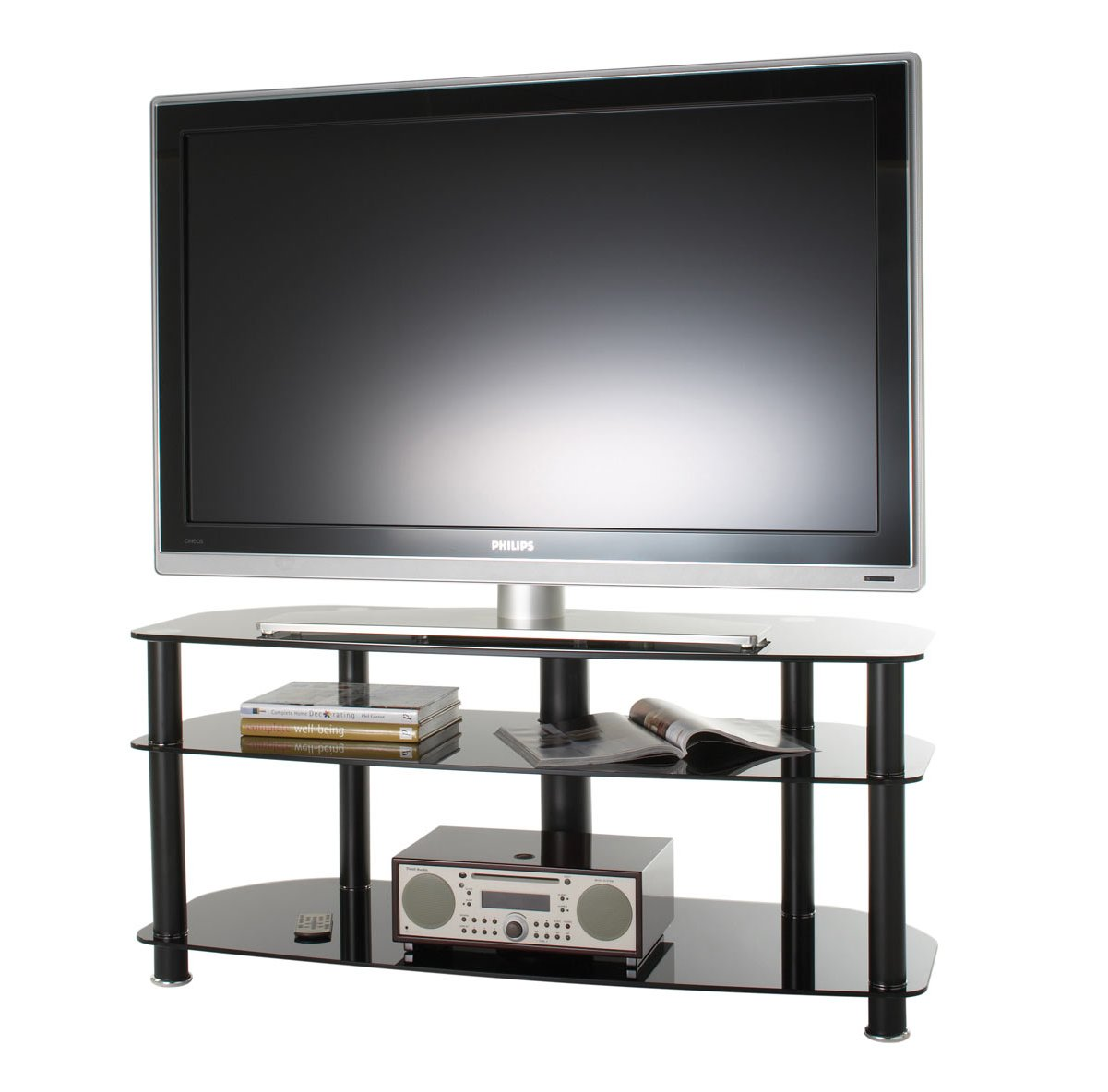 alphason black glass tv stand for up to 50 tvs. Black Bedroom Furniture Sets. Home Design Ideas