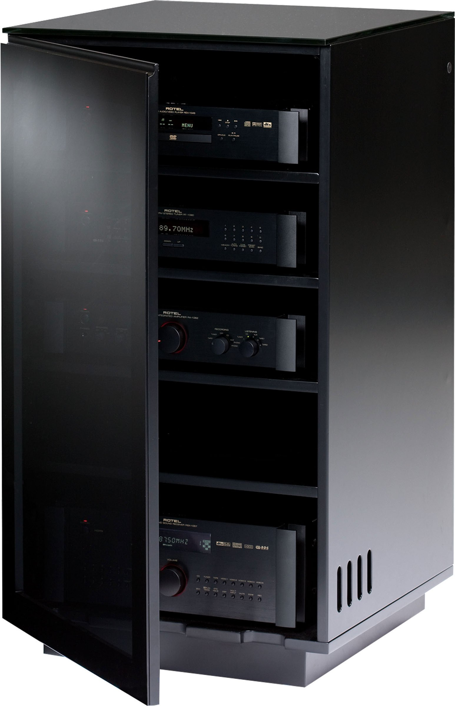 Bdi Mirage 8222 Black Luxury Hi Fi Cabinet Main Image