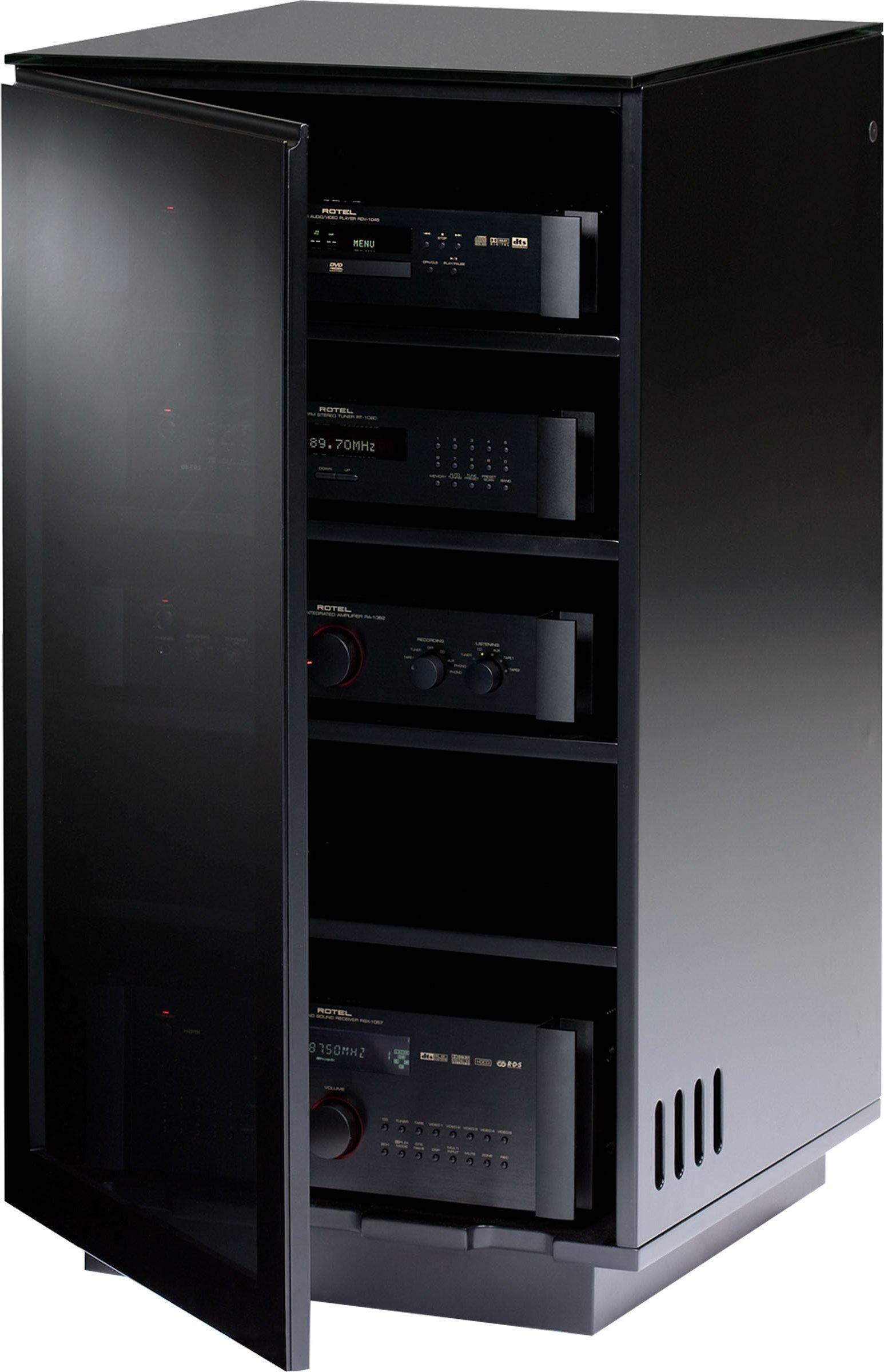 Bdi mirage 8222 black luxury hi fi cabinet
