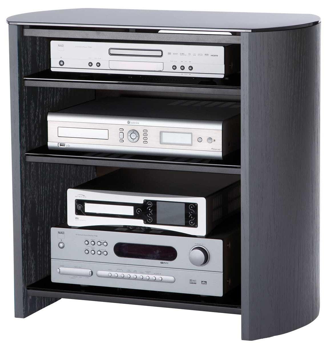 Black Oak Veneer LCD TV Stand With 4 Shelves