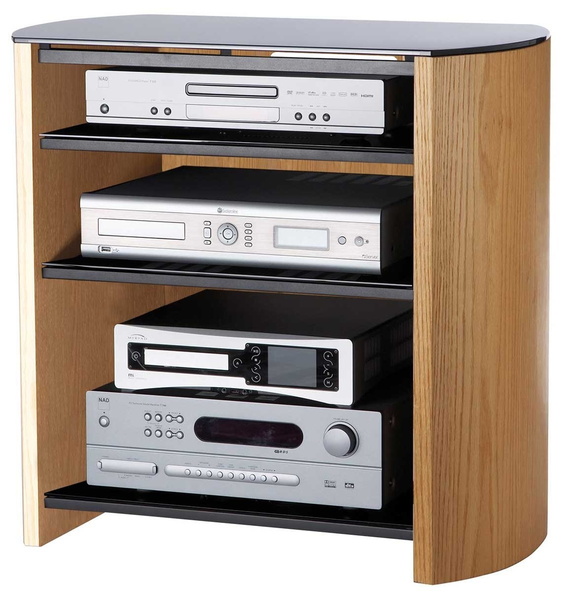 Light Oak Veneer LCD TV Stand With 4 Shelves
